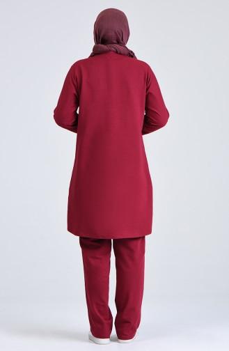 Plus Size Striped Tracksuit Set 0844-01 Claret Red 0844-01