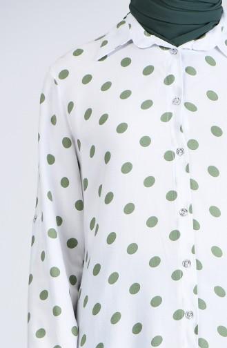 Polka Dot Shirt 6000a-04 Ecru Ages Green 6000A-04