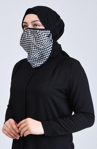 Sefamerve Bandana Ekose Desen Yüz Maske 8801B-01 Siyah Beyaz