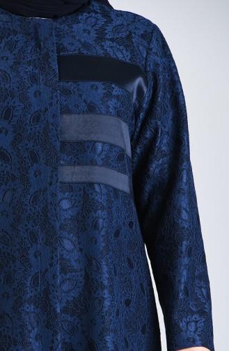 Plus Size Lace Topcoat 0297-02 Navy Blue 0297-02