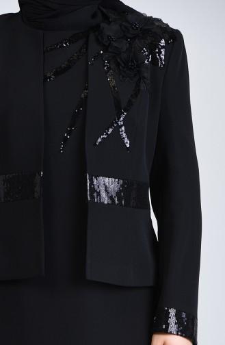 Ensemble Deux Pieces Robe de Soirée Veste à Paillettes 7K7732200-03 Noir 7K7732200-03