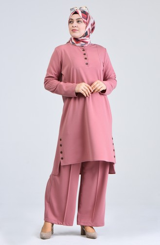Plus Size Button-up Tunic Trousers Double Set 0888-07 Dry Rose 0888-07