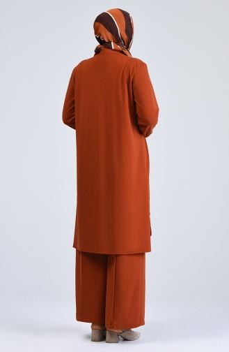 Büyük Beden Düğme Detaylı Tunik Pantolon İkili Takım 0888-08 Taba