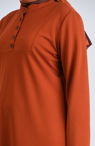 Plus Size Button Detailed Tunic Trousers Double Set 0888-08 Tobacco 0888-08