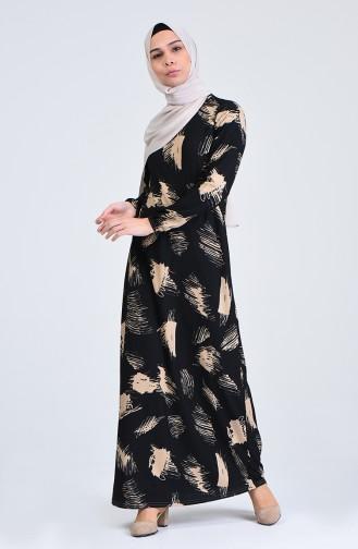 Desenli Elbise 8867-01 Siyah