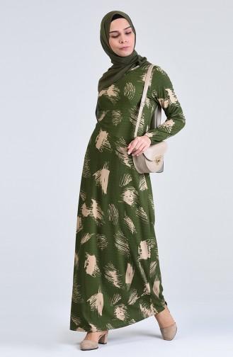 Patterned Dress 8867-05 Khaki 8867-05