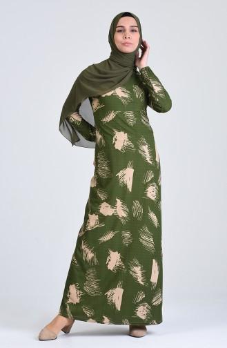 Khaki İslamitische Jurk 8867-05