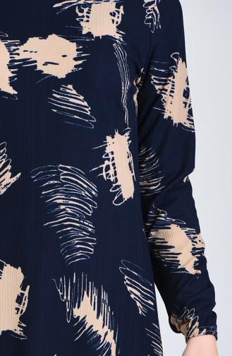 Patterned Dress 8867-06 Navy Blue 8867-06