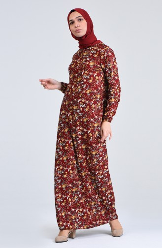 Ziegelrot Hijap Kleider 8868-05