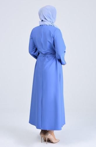Plus Size Sleeve Rocky Belted Dress 0887b-02 Blue 0887B-02