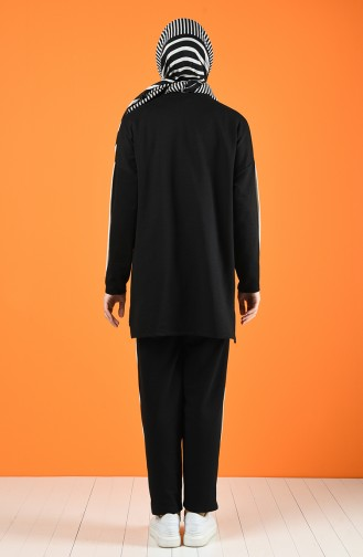 Şeritli Eşofman Takım 0830-01 Siyah