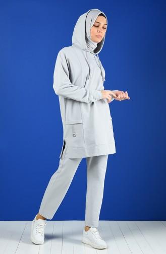 Hooded Sportswear Suit 0845-02 Gray 0845-02