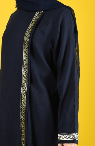 Baumwolles Abaya aus Şile Stoff 6666-01 Dunkelblau 6666-01