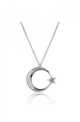 Stein bedruckte Mondstern Halskette BY016 Silber 016