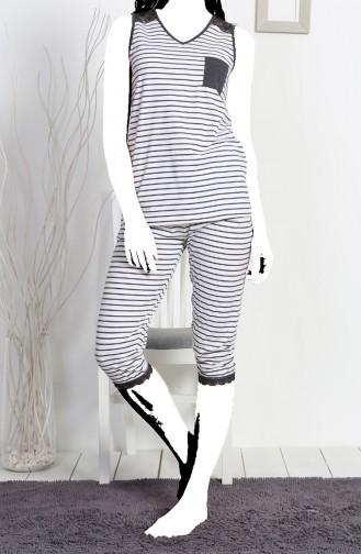 Bayan Kısa Kol Kapri Pijama Takımı 811144-A Gri Melanj