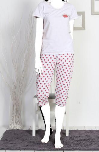 Ladies Short Sleeve Capri Pyjama Set 811146-a Gray Melange 811146-A