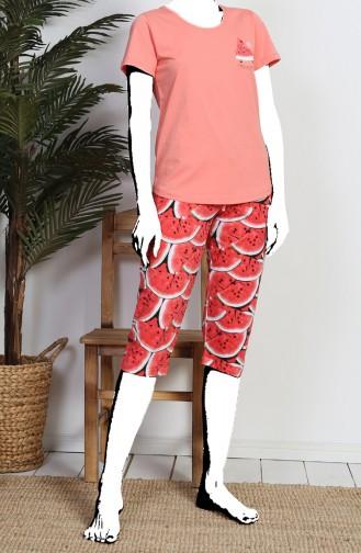 Bayan Kısa Kol Kapri Pijama Takımı 811367-A Mercan