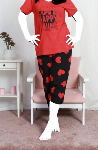 Bayan Büyük Beden Kısa Kol Kapri Pijama Takımı 812049-B Nar Çiçeği