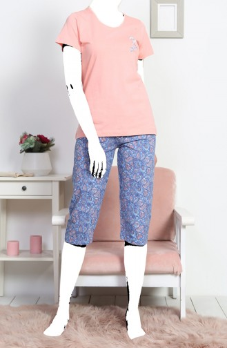 Bayan Kısa Kol Kapri Pijama Takımı 812070-A Somon