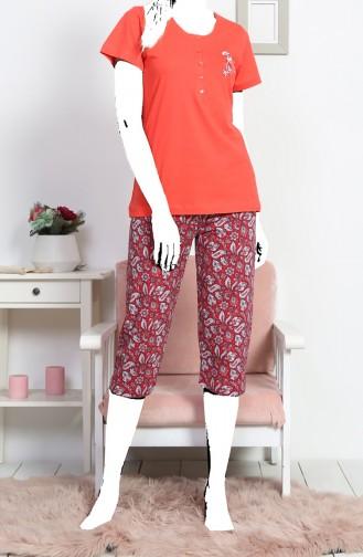 Ensemble Pyjama Capri Manches Courte Pour Femme 812072-B Fleur de Grenade 812072-B