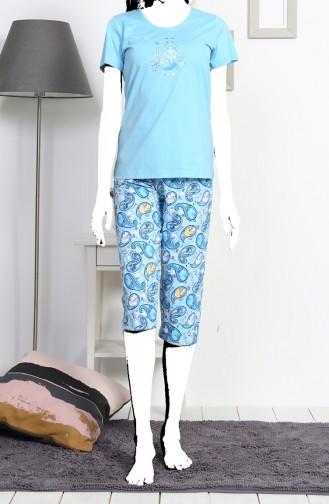 Bayan Kısa Kol Kapri Pijama Takımı 812078-A Mavi