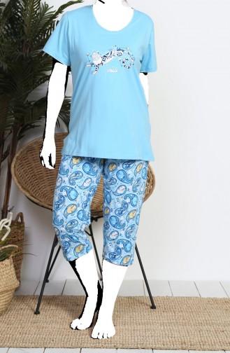 Ensemble Pyjama Capri Manches Courte Pour Femme Grande Taille  812079-A Bleu 812079-A