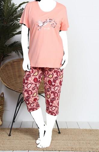 Bayan Büyük Beden Kısa Kol Kapri Pijama Takımı 812079-B Somon