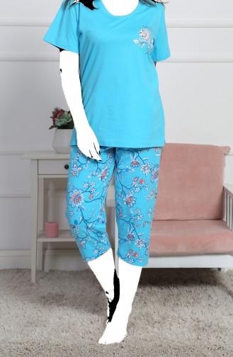 Bayan Büyük Beden Kısa Kol Kapri Pijama Takımı 812101-A Turkuaz