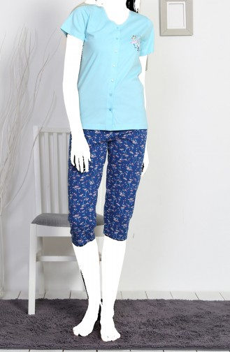 Ensemble Pyjama Capri Manches Courte Pour Femme 812113-A Bleu Clair 812113-A
