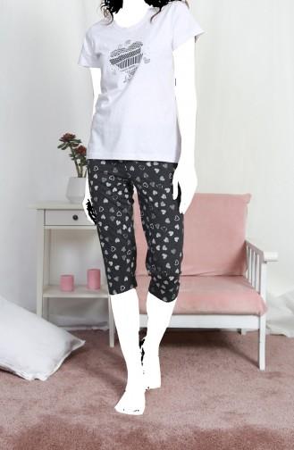 Bayan Kısa Kol Kapri Pijama Takımı 812117-A Gri Melanj