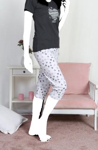 Bayan Kısa Kol Kapri Pijama Takımı 812117-B Antrasit