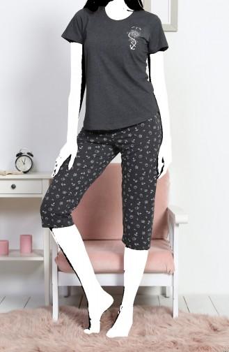 Bayan Kısa Kol Kapri Pijama Takımı 812173- Antrasit