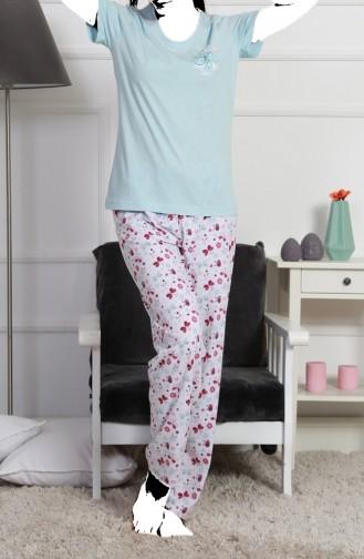 Bayan Kısa Kol Pijama Takımı 905050-A Açık Mavi