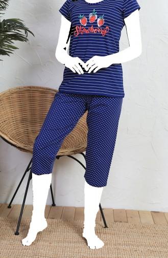 Bayan Kısa Kol Kapri Pijama Takımı 910138-A Lacivert