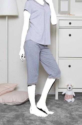 Bayan Kısa Kol Kapri Pijama Takımı 910155-B Gri Melanj