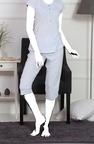 Bayan Kısa Kol Kapri Pijama Takımı 911003-A Gri Melanj