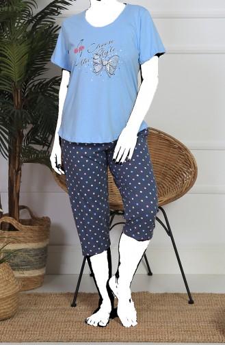 Damen Grösse Grosse Kurzarm Capri Pyjama Set  911243-A Hell Blau 911243-A