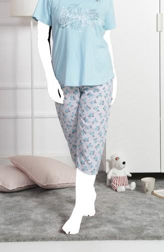Bayan Büyük Beden Kısa Kol Kapri Pijama Takımı 911273-A Açık Mavi