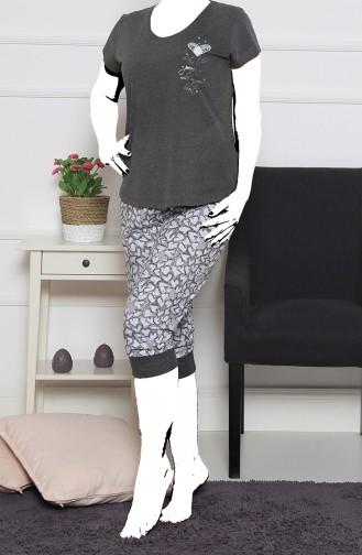 Bayan Büyük Beden Kısa Kol Kapri Pijama Takımı 912014-A Antrasit