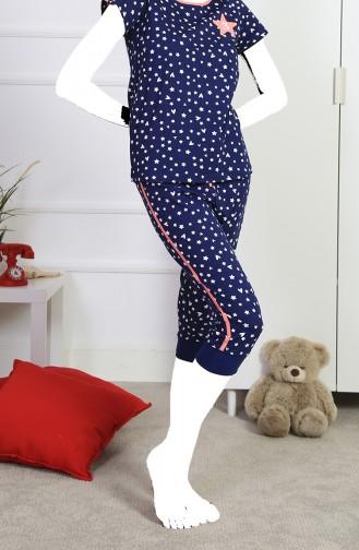 Ensemble Pyjama Capri Manches Courte Pour Femme 912100-A İndigo 912100-A