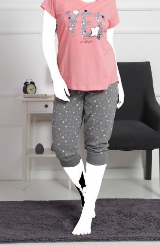 Damen Grösse Grosse Kurzarm Capri Pyjama Set  912104-A Pink 912104-A