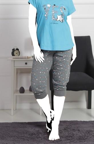 Bayan Büyük Beden Kısa Kol Kapri Pijama Takımı 912104-B Turkuaz