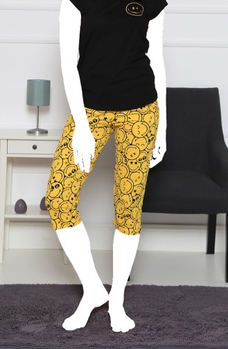 Damen Kurzarm Capri Pyjama Set 912113-A Schwarz 912113-A