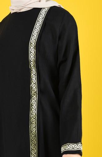Baumwolles Abaya aus Şile Stoff 6666-02 Schwarz 6666-02