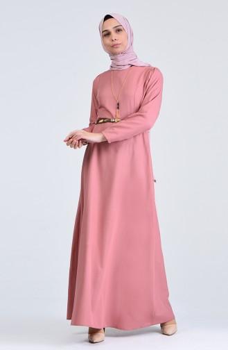 Kemerli Kolyeli Elbise 6450-08 Soğan Kabauğu