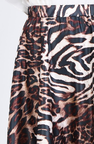 Leopard Patterned Flared Satin Skirt 2102-01 Black 2102-01
