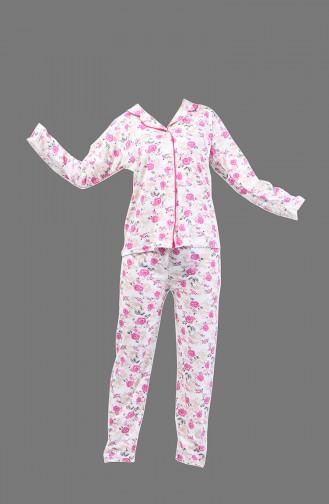 Patterned Pajama Suit 1005-03 Fuchsia 1005-03