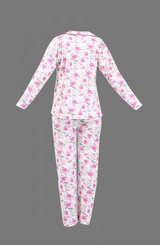 Desenli Pijama Takım 1005-03 Fuşya