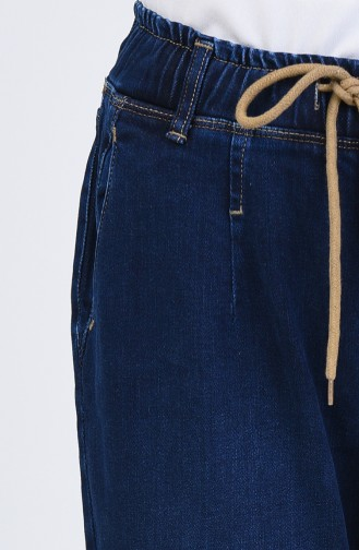 Lastikli Dar Paça Kot Pantolon 0718-01 Lacivert