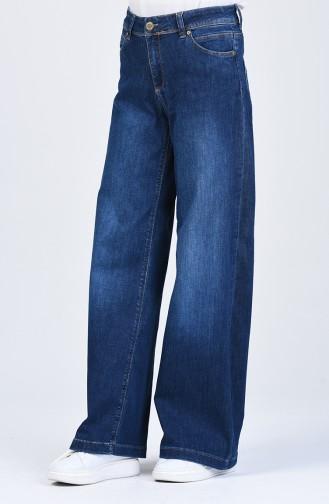 Düğmeli Bol Paça Kot Pantolon 9100-01 Lacivert